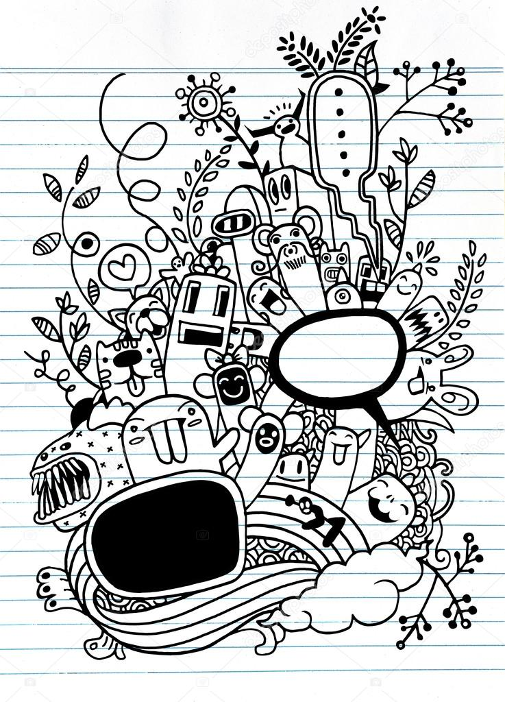 737x1024 Hand Drawn Crazy Doodle Monster And Flower,drawing Style Stock