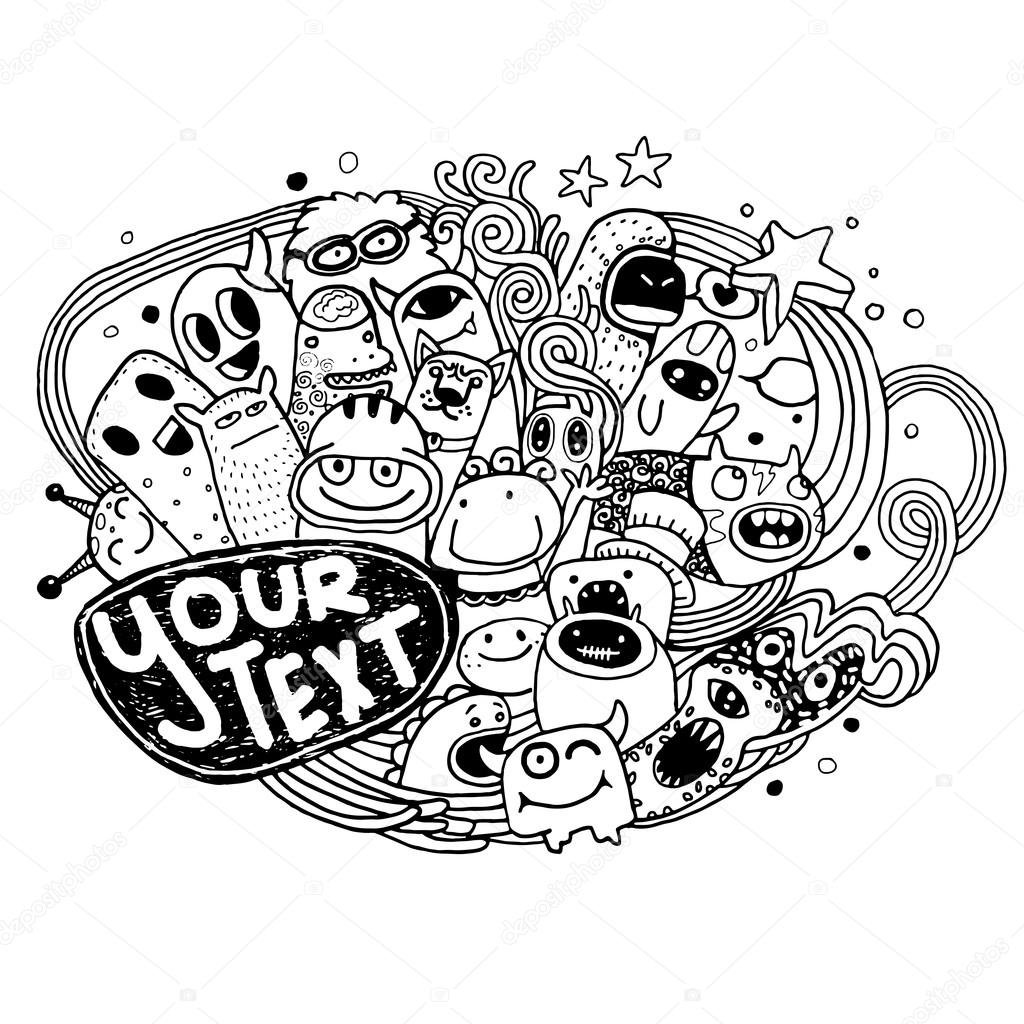1024x1024 Hand Drawn Monsters And Cute Alien Stock Vector 9george
