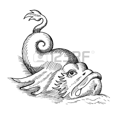 450x396 Hand Drawn Sketch Of Fish Monster Isolated On White Royalty Free