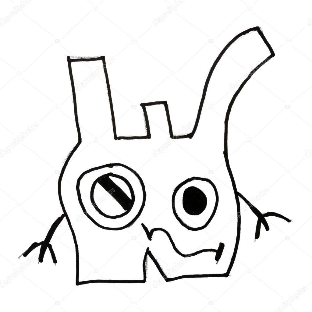 1024x1024 Monster Ears Evil Hero Hand Drawing Isolated Stock Photo
