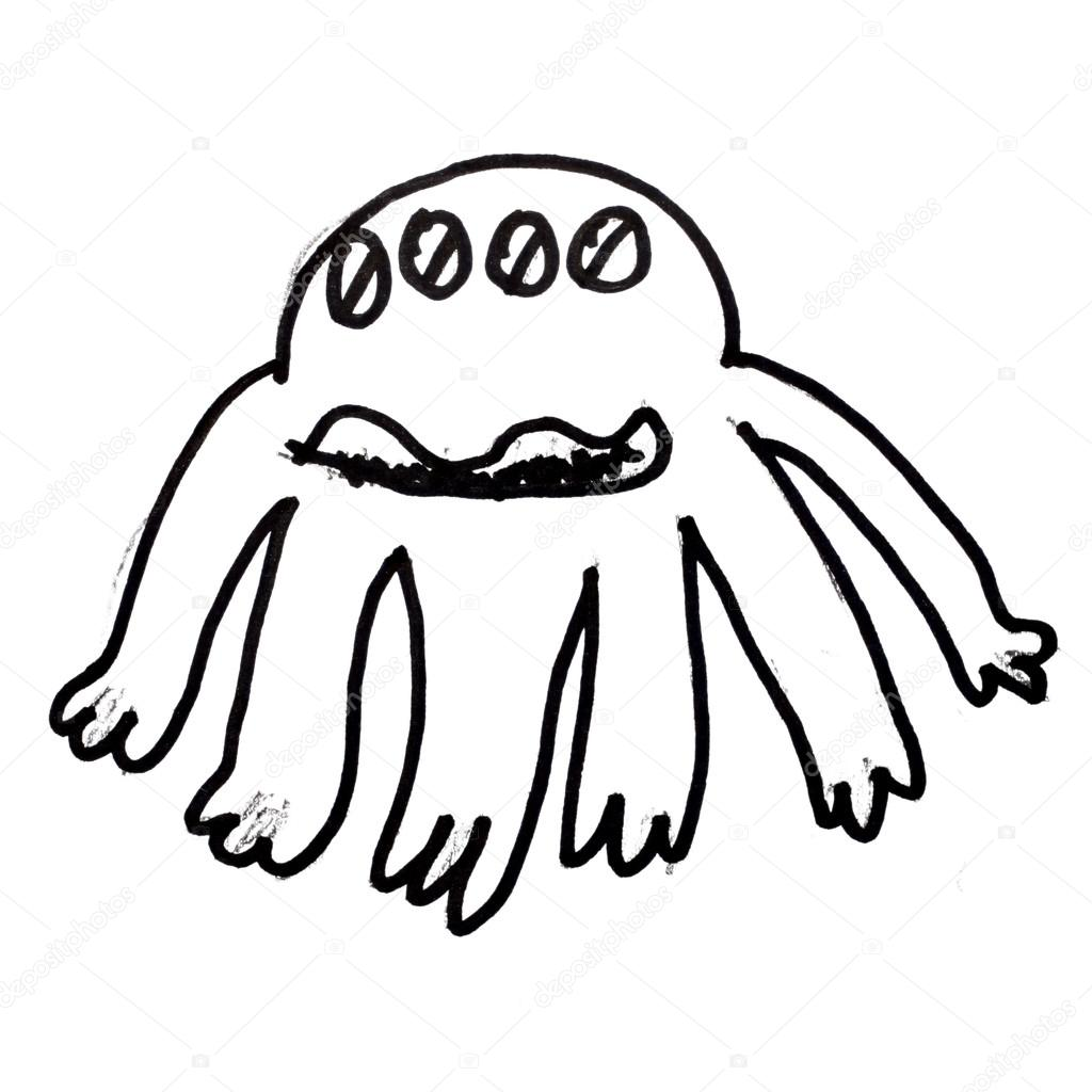 1024x1024 Monster Evil Hero Octopus Hand Drawing Isolated Stock Photo