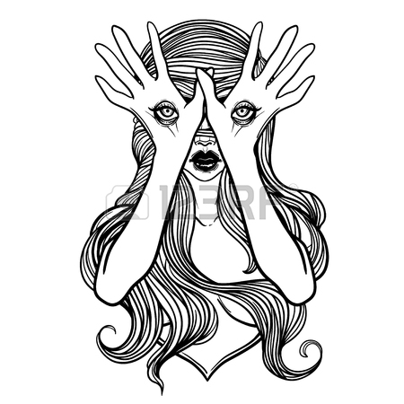 450x450 Mysterious Monster With Eyes On The Hands. Hand Drawn Vector