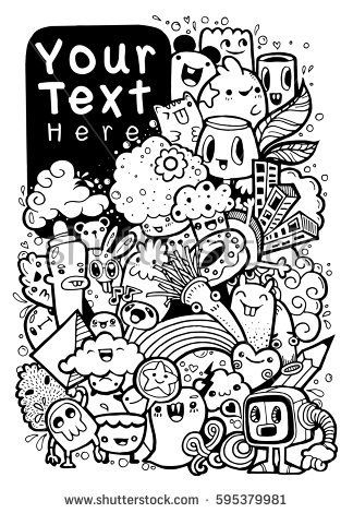 324x470 Stock Vector Hipster Hand Drawn Crazy Doodle Monster City Drawing