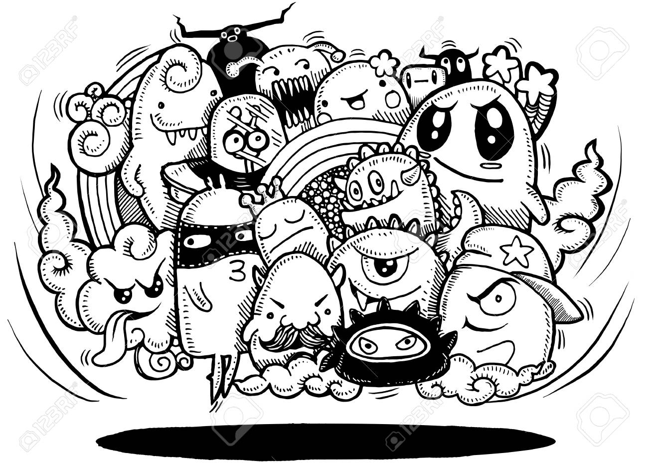 1300x936 Angry Cartoon Monster.hand Drawn Crazy Doodle Monster Group