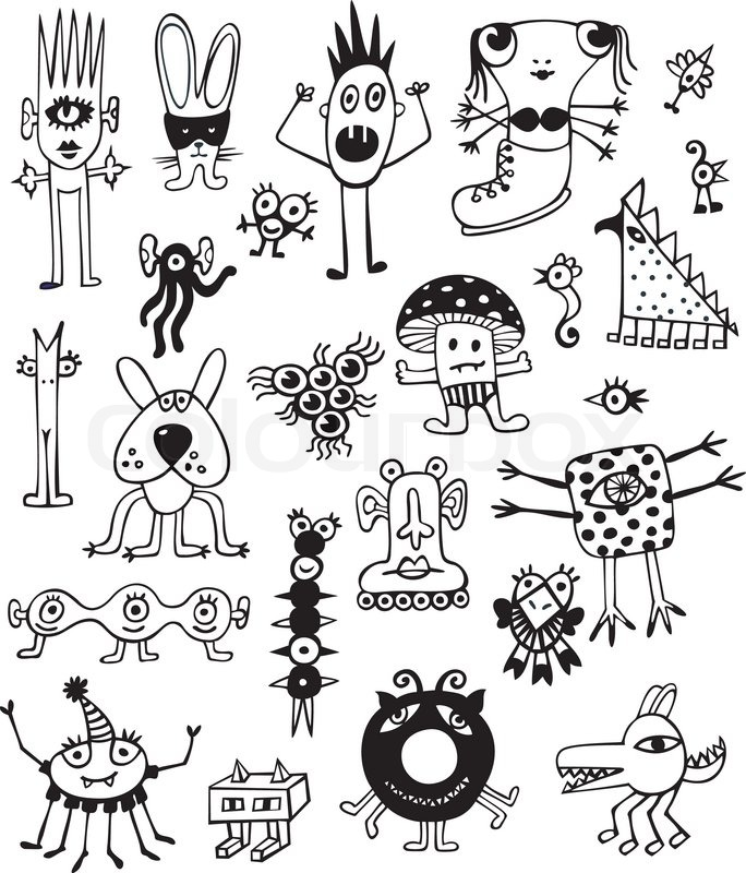 684x800 Collection Of Cute Unusual Monsters On White Background. Hand