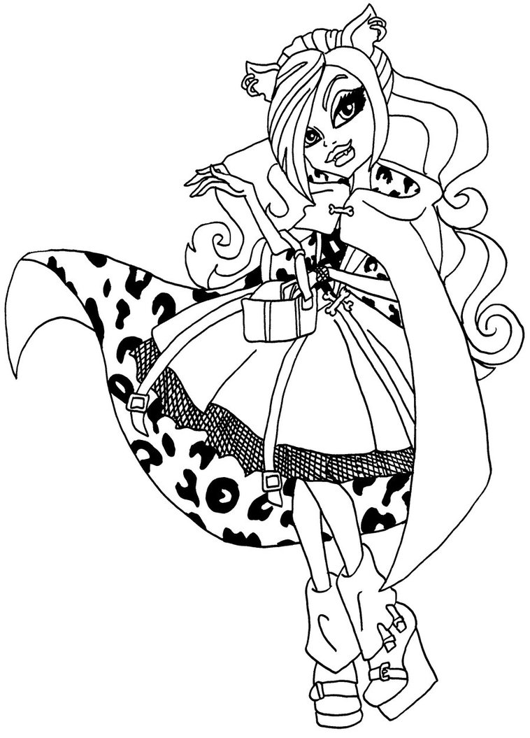 758x1055 Clawdeen Wolf Little Girl Monster High Coloring Page Preschool For