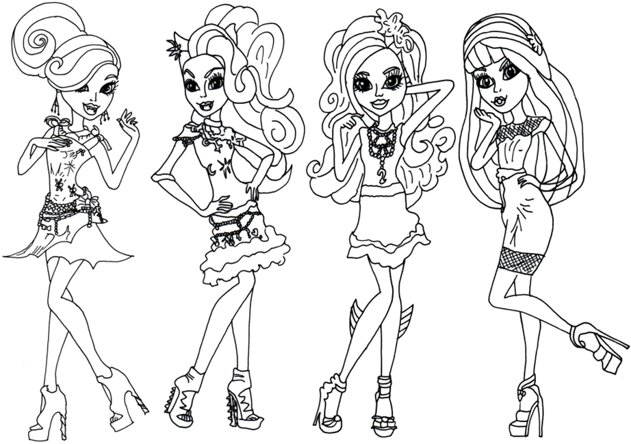 922x649 Monster High Coloring Page (4 Monster Girls)