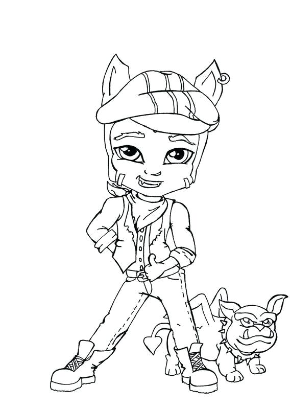 570x800 Monster High Coloring Pages Online Wolf Little Boy Monster High