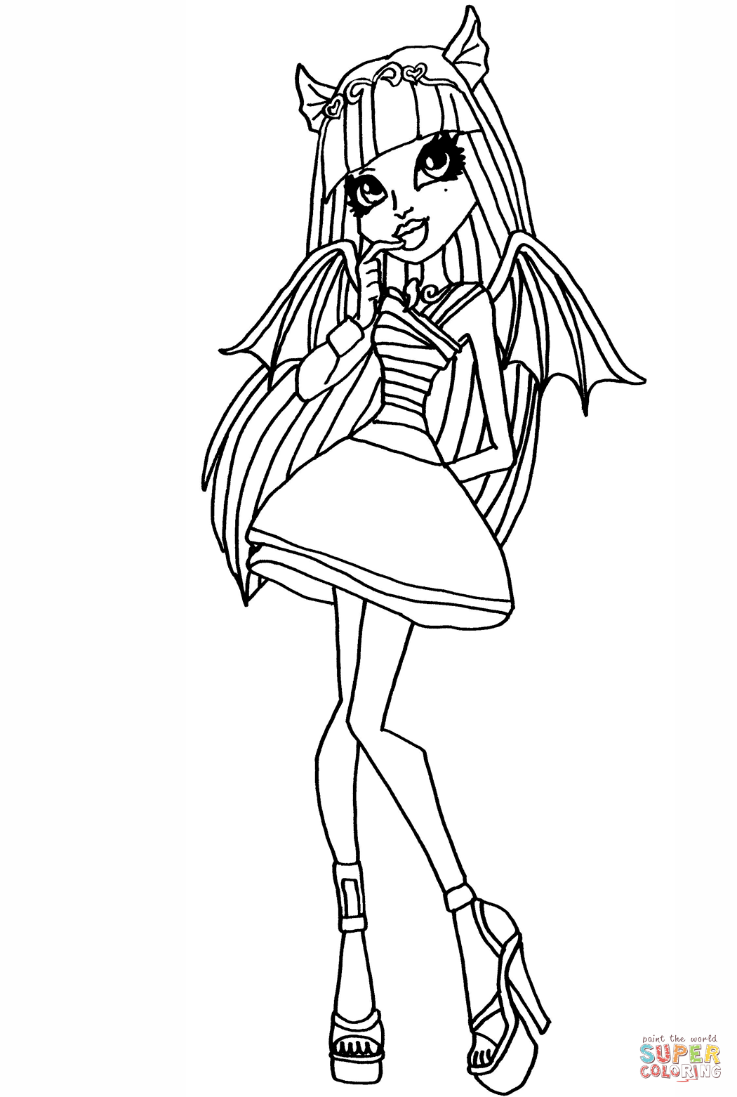 1050x1562 Monster High Rochelle Coloring Page Free Printable Coloring Pages