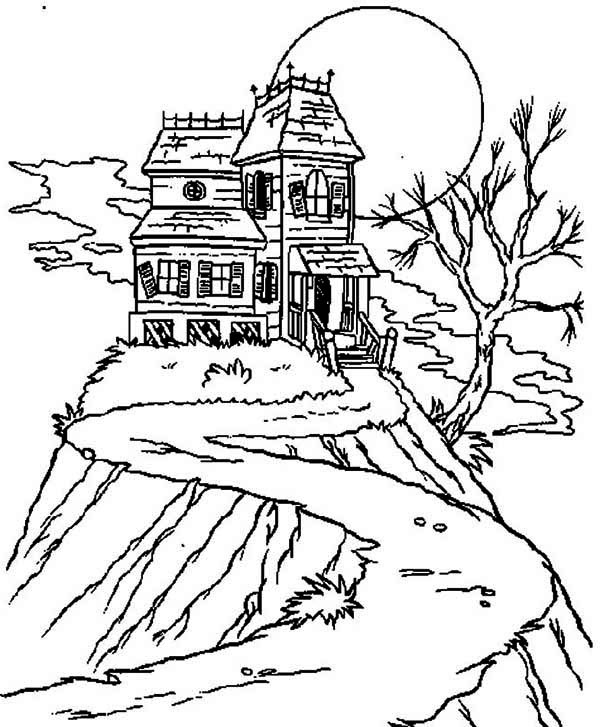 600x727 Isolated Haunted House Coloring Page Halloween Haunts