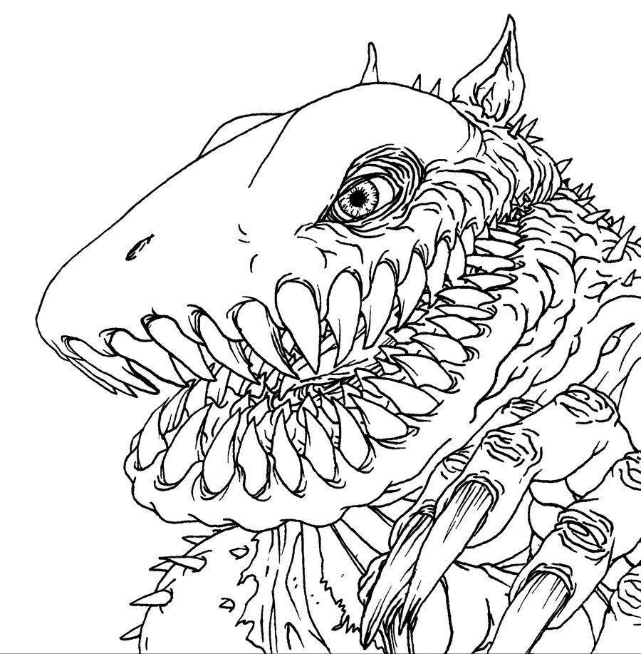 900x917 Monster Line Art By Quasilucid