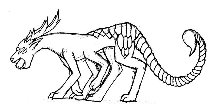 900x458 Pantherscorpion Weird Monster Lineart By Tidal Fox101