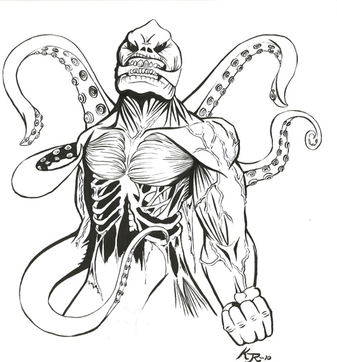 490x526 Sea Monster Line Art