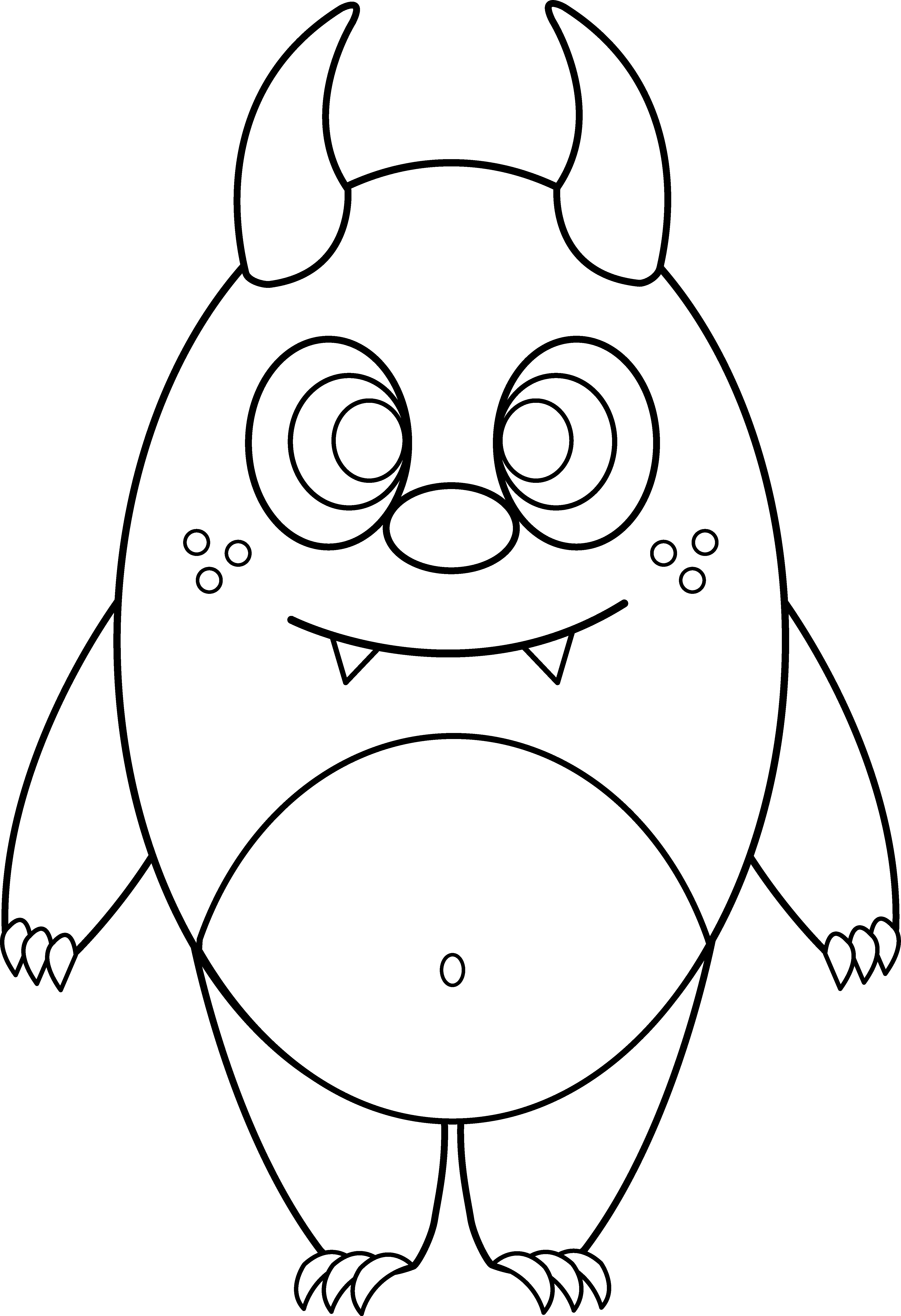 4325x6318 Silly Little Monster Coloring Page