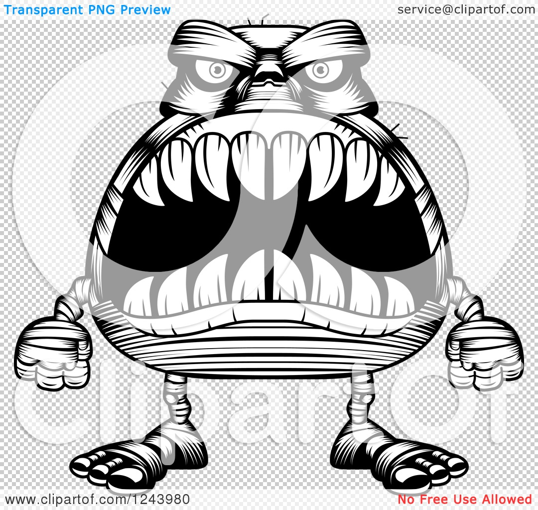 1080x1024 Clipart Of A Black And White Mummy Monster With Big Teeth