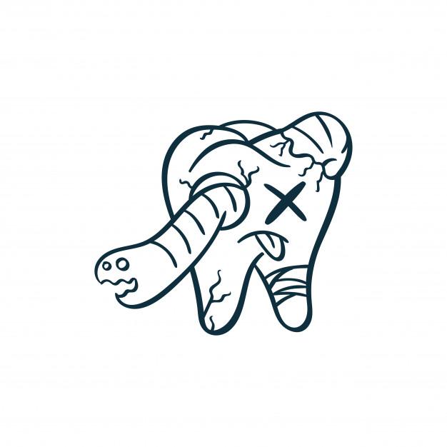 626x626 Monster Dental Teeth Doodle Illustration Vector Premium Download