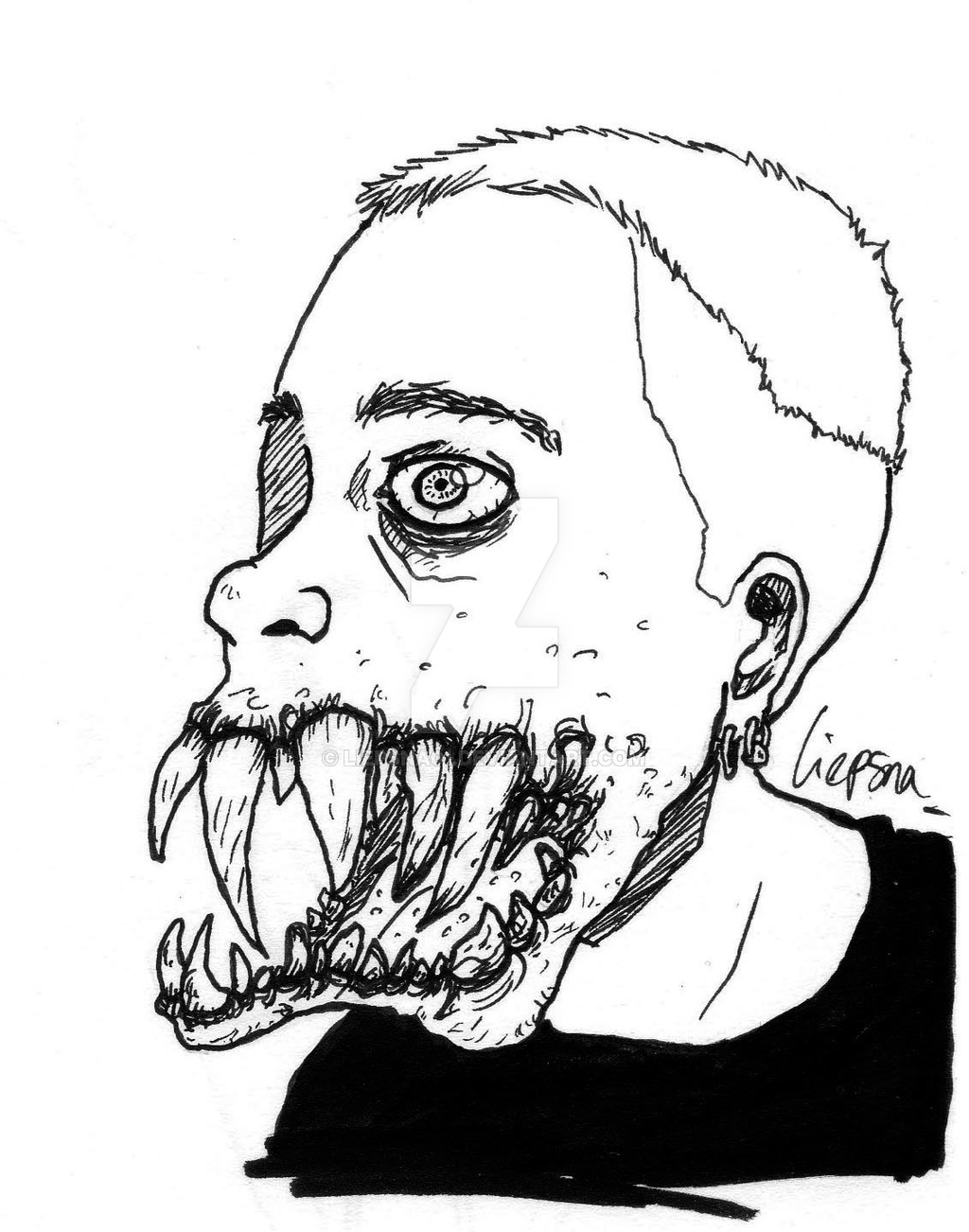 1024x1302 Self Portrait With Monster Teeth By Liepsna01