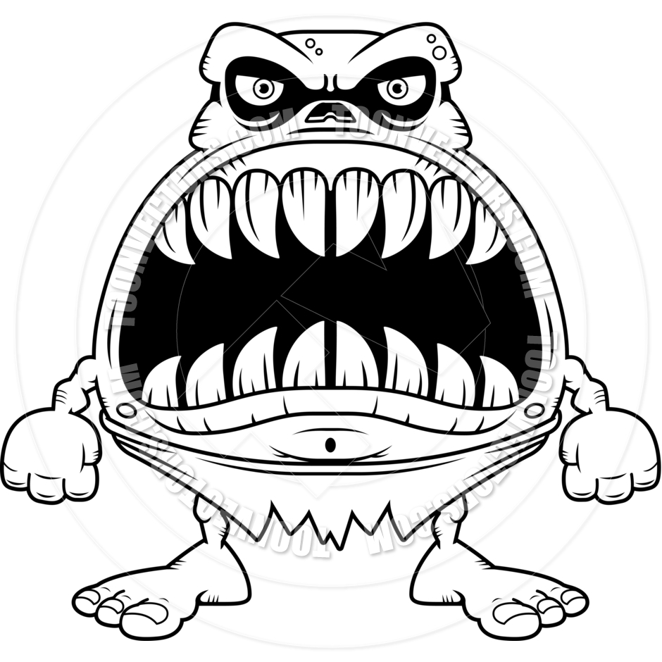 940x940 Cartoon Ghoul Angry (Black And White Line Art) By Cory Thoman
