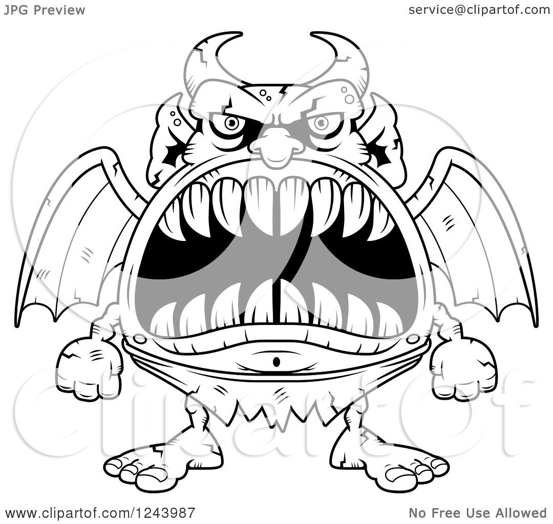 1080x1024 Clipart Of A Black And White Gargoyle Monster With Big Teeth