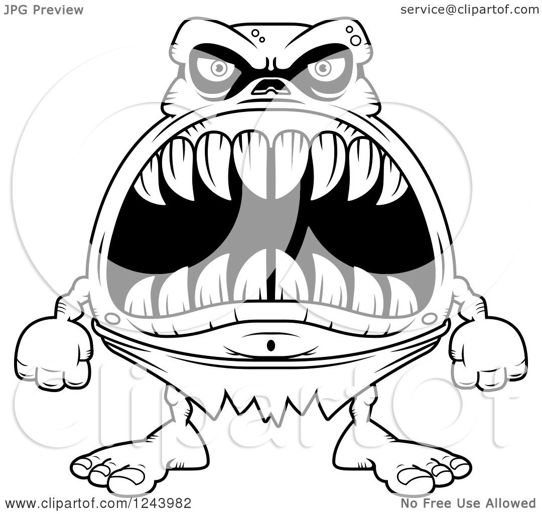 1080x1024 Clipart Of A Black And White Ghoul Monster With Big Teeth