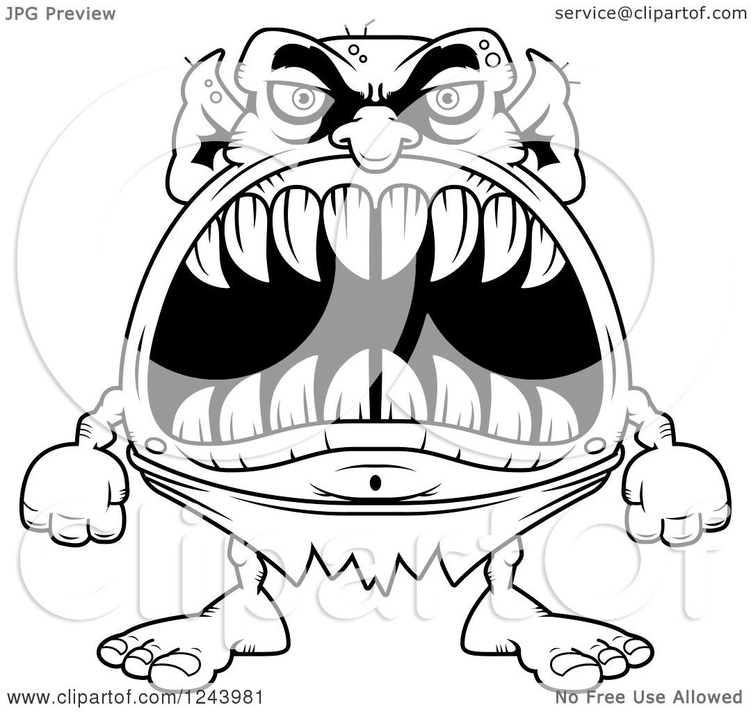 1080x1024 Clipart Of A Black And White Goblin Monster With Big Teeth