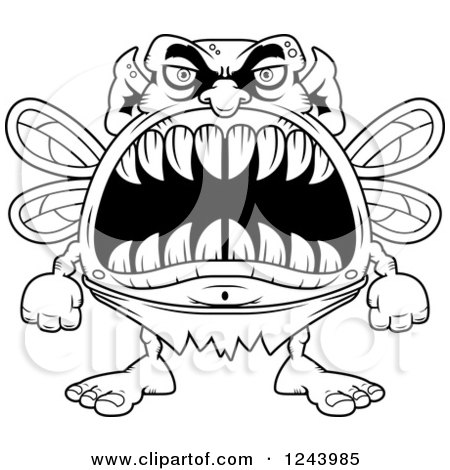 450x470 Clipart Of A Black And White Monster Fairy With Big Teeth