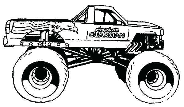 600x348 Monster Truck Grave Digger Coloring Also Truck Drawing Grave