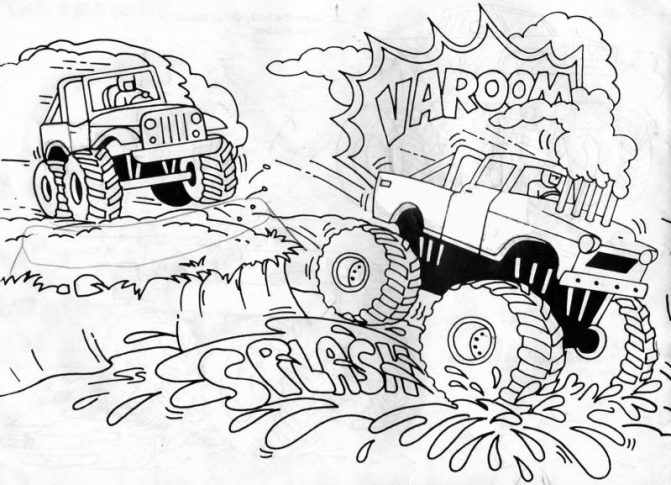 671x485 Coloring Pages Monster Truck Drawings How To Draw Volkswagen