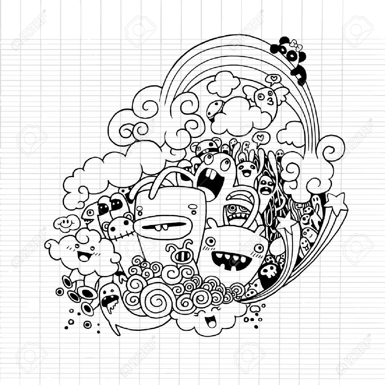 1300x1300 Doodle Monster Stock Photos. Royalty Free Business Images