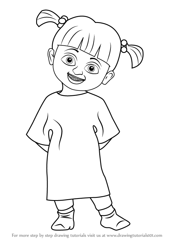 596x843 Learn How To Draw Boo From Monsters, Inc. (Monsters, Inc) Step By