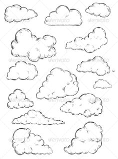 236x316 Doodle Collection Of Hand Drawn Vector Clouds. Stock Vector