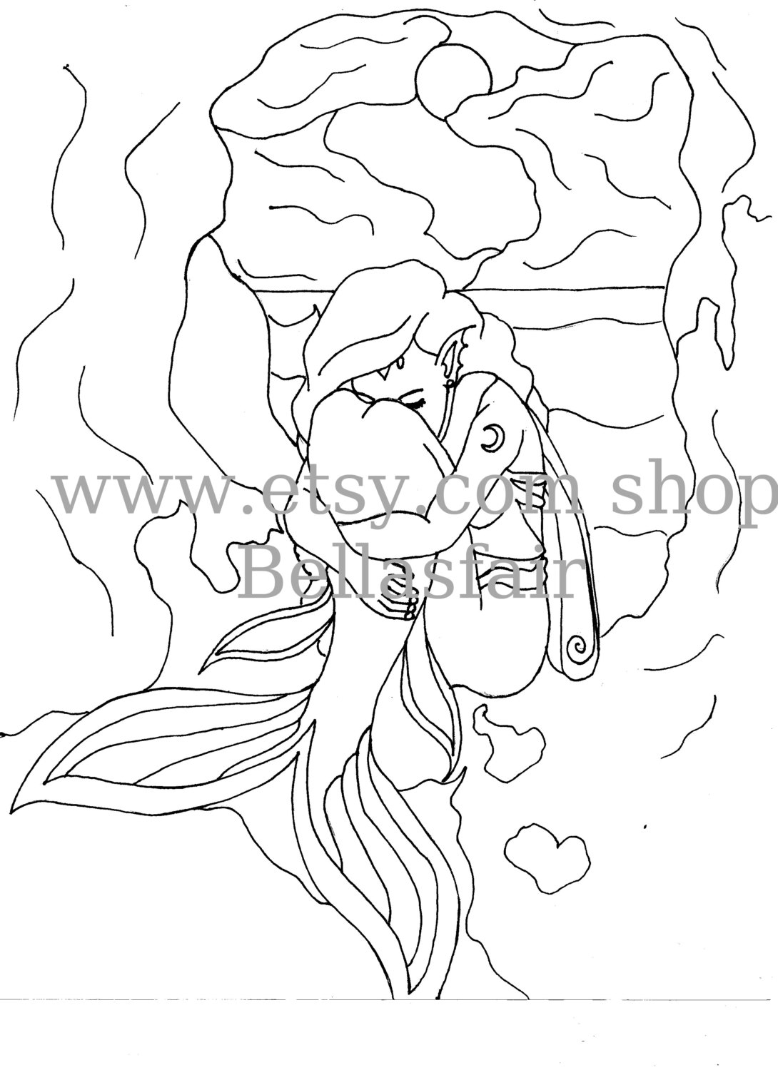 1090x1500 Hand Drawn Mermaid, Mythical, Coloring Page, Coloring, Wings, Moon
