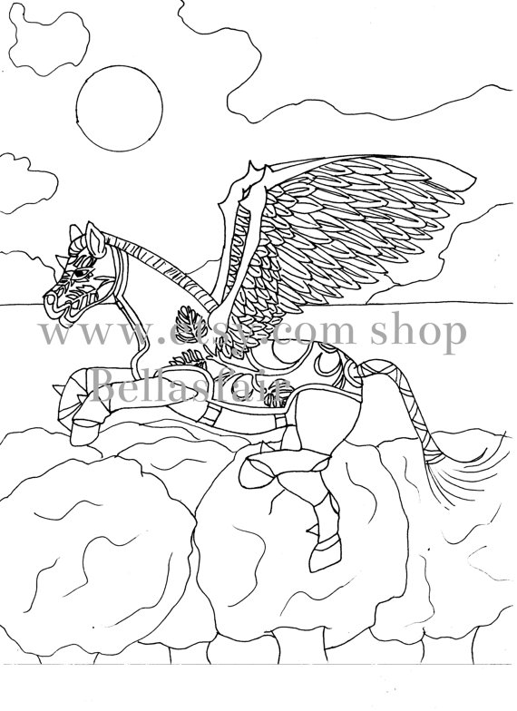 570x784 Hand Drawn Mythical Horse Coloring Coloring Page Fantasy