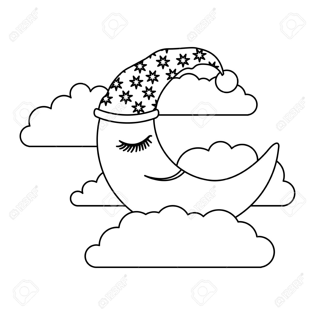 1300x1300 Moon Half Caricature With Sleeping Cap Into The Clouds Sketch
