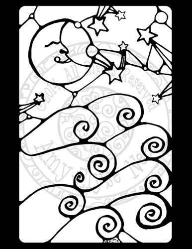 386x500 Moon And Clouds Coloring Sheet Pdf Fun For Any Age Stained Glass