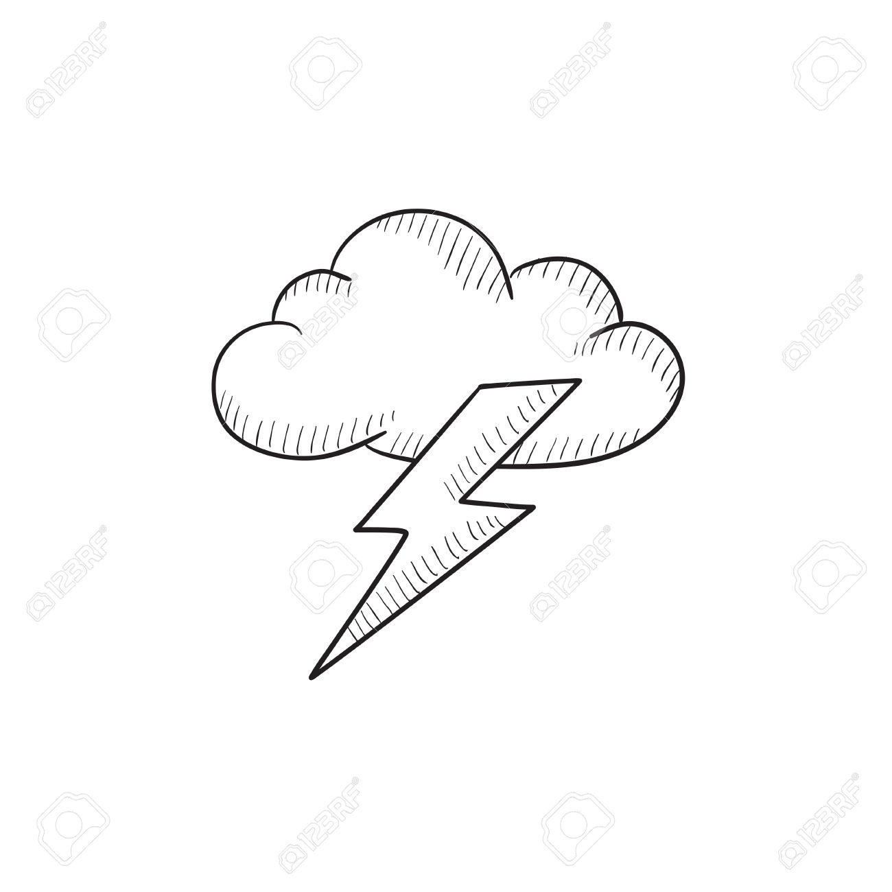 1300x1300 Cloud And Lightning Bolt Vector Sketch Icon Isolated On Background