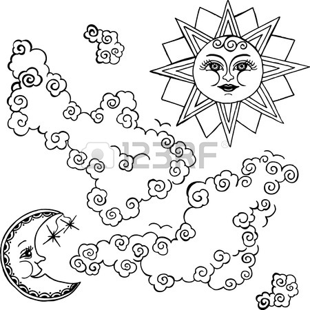 450x450 The Sun And Moon And Clouds. Color Drawing. Royalty Free Cliparts