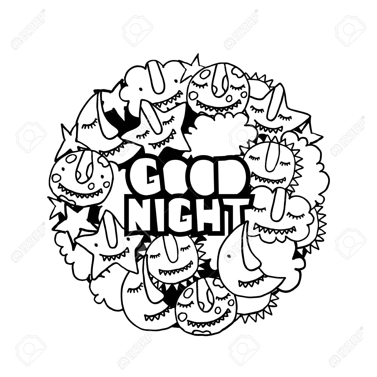 1300x1300 Vector Kids Doodle Good Night Illustration. Cute Cartoon Monsters