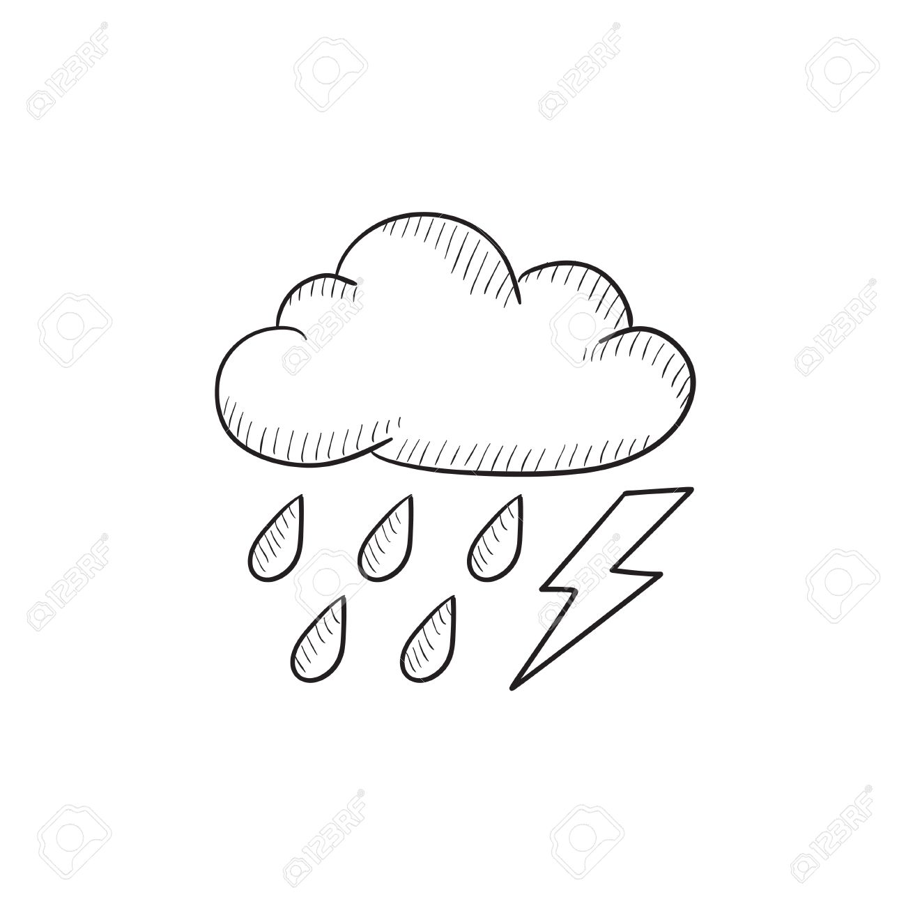 1300x1300 Cloud With Rain And Lightning Bolt Vector Sketch Icon Isolated