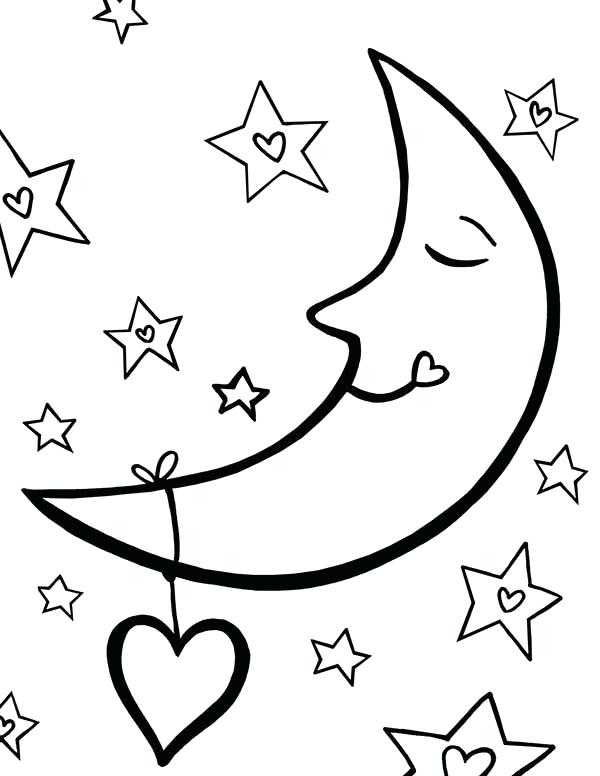 stars and moon coloring pages - moon and star drawing at free for