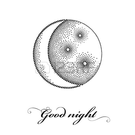 450x450 Vector Illustration With Dotted Half Moon, Stars And Squares