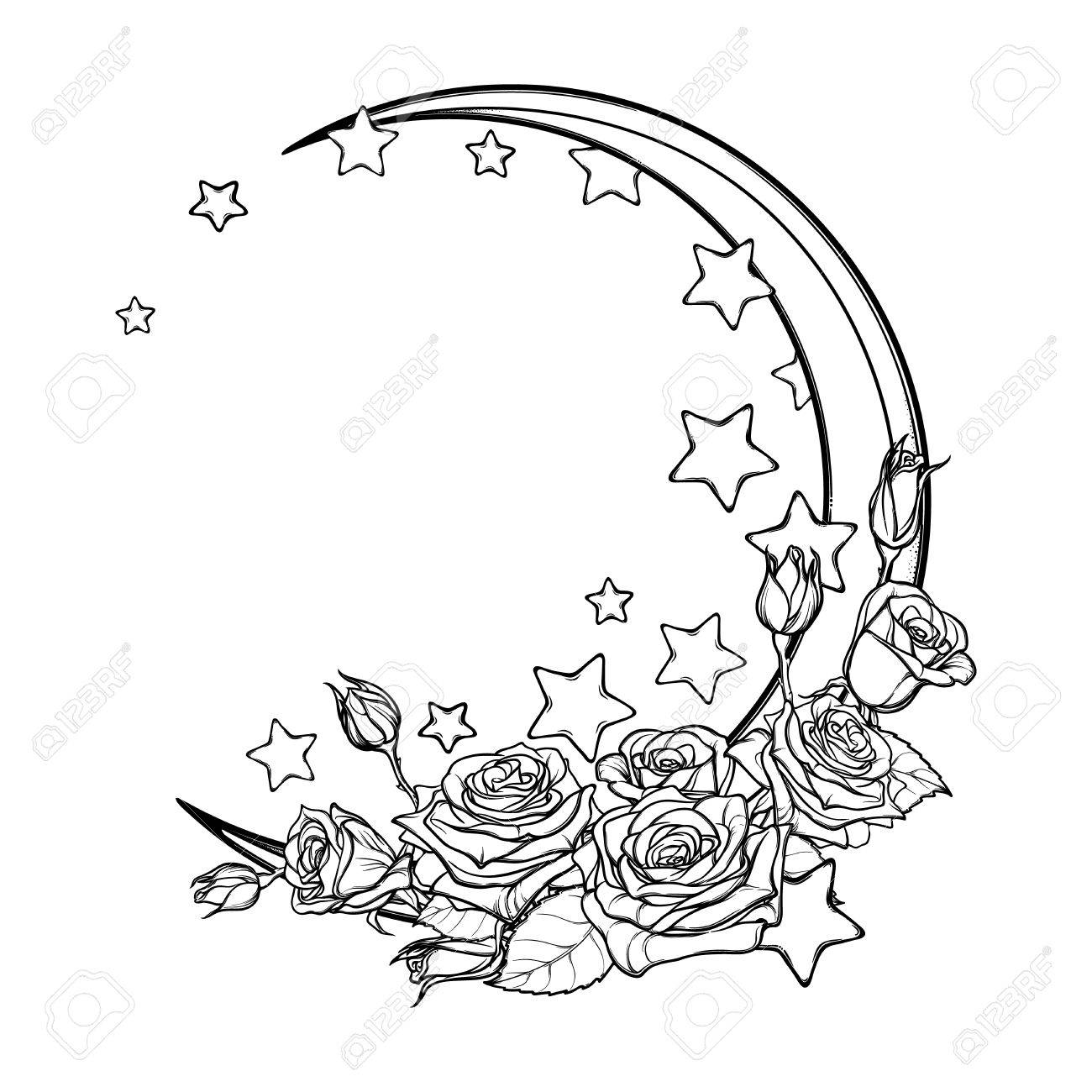 1300x1300 Kawaii Night Sky Composition With Roses Bouquet, Stars And Moon
