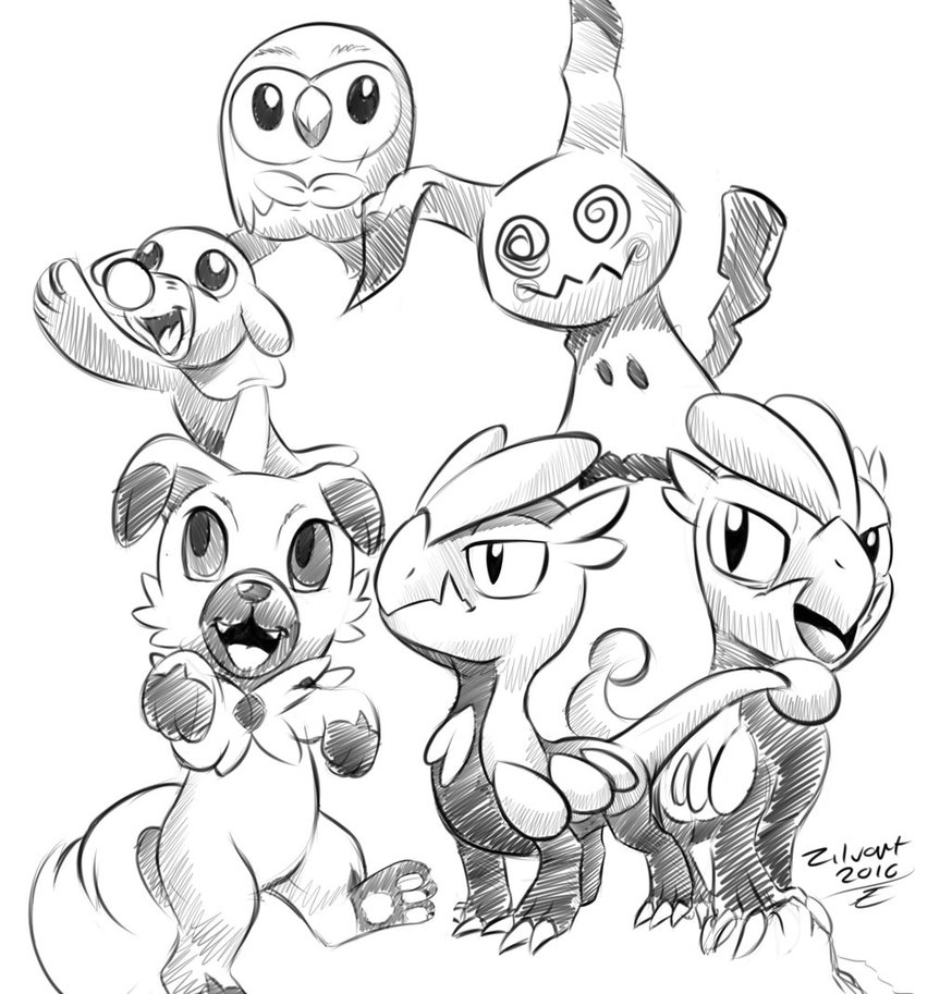 874x913 Pokemon Sun Moon Sketches Small Sketch Dump By Zilvart