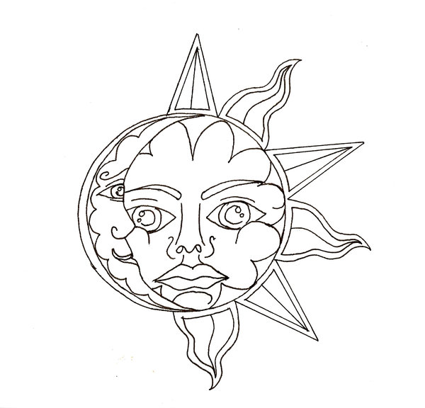 600x576 Moon And Sun Drawing Sun And Moon By ~scammyauty