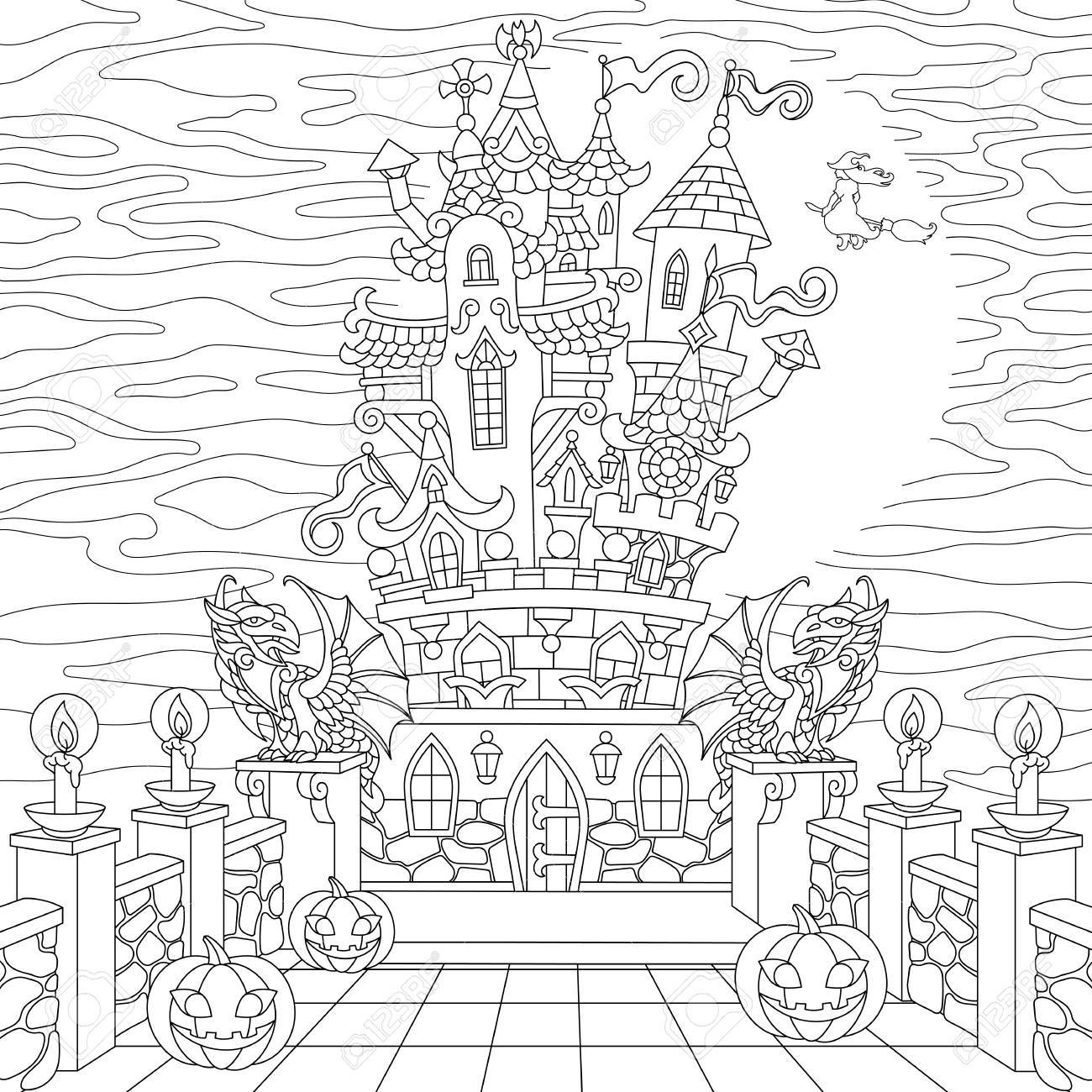 1300x1300 Halloween Coloring Page. Spooky Castle, Halloween Pumpkins, Witch