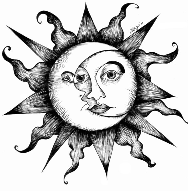 600x610 The Sun And Moon By Atychiphobe