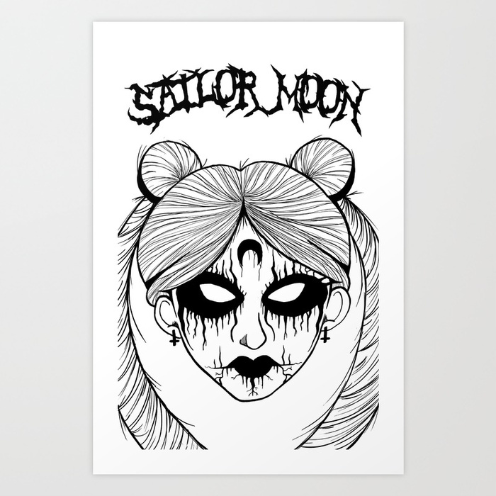 700x700 Black Metal Sailor Moon Art Print By Pryde Society6