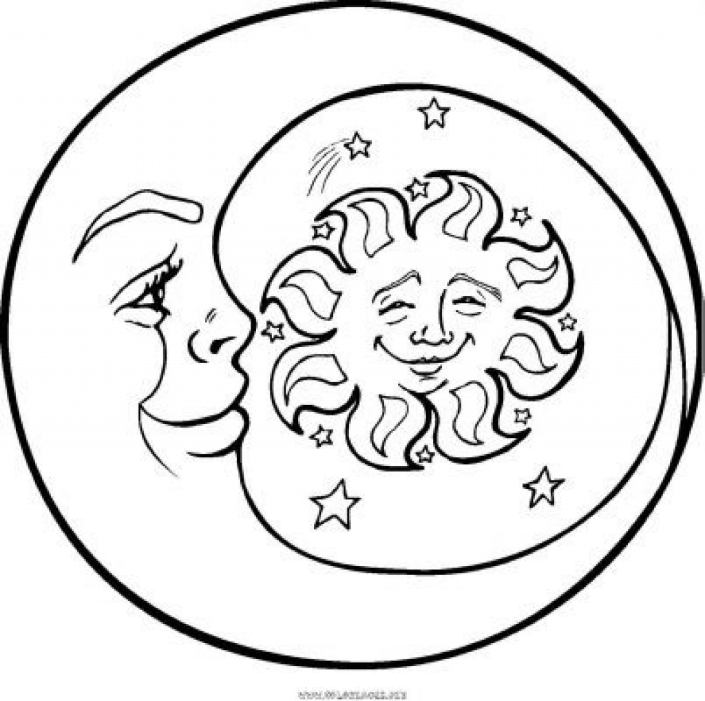 1024x1018 sun and moon coloring pages to humorous print printable coloring