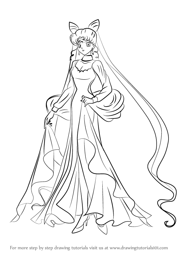 596x843 Learn How To Draw Black Lady From Sailor Moon (Sailor Moon) Step