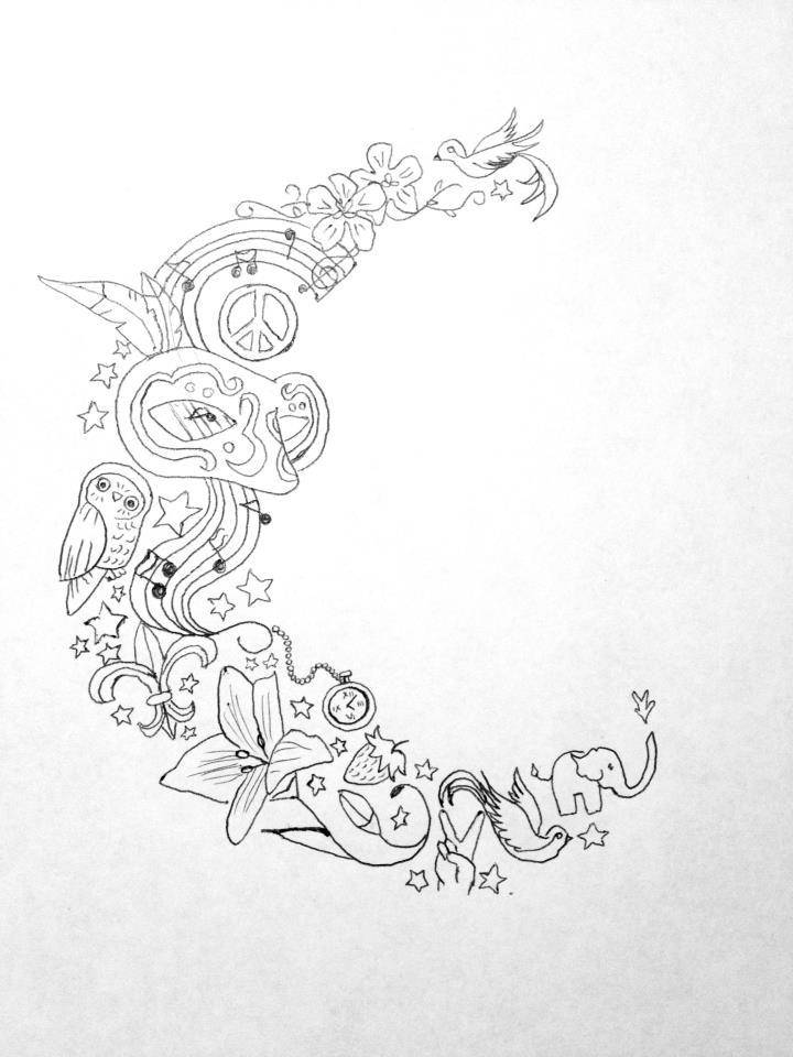 720x960 Moon Drawing Tattoo Lock And Key Tattoo Design Tattoo Drawings